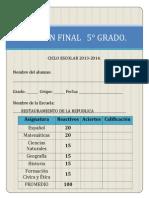 EXAMEN FINAL 5° 2013-2014