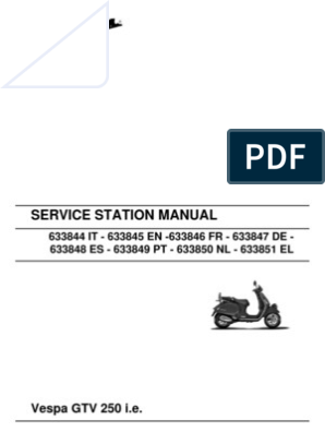 Vespa GTV250 Workshop Manual | Transmission (Mechanics) | Brake