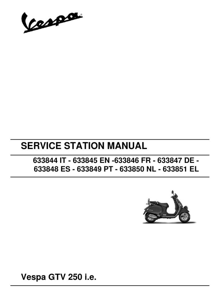 Vespa GTV250 Workshop Manual | Motor Oil | Transmission (Mechanics)