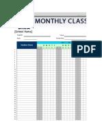 Monthly Class Attendance