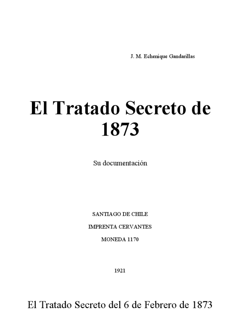 El Tratado Secreto de 1873 de J. M. Echenique Gandarillas