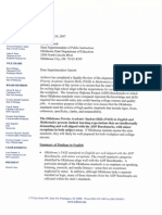 Achieve Nov. 2007 Letter Regarding PASS Standards