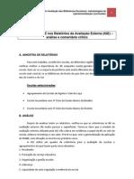 Referências à BE nos Relatórios de Avaliação Externa