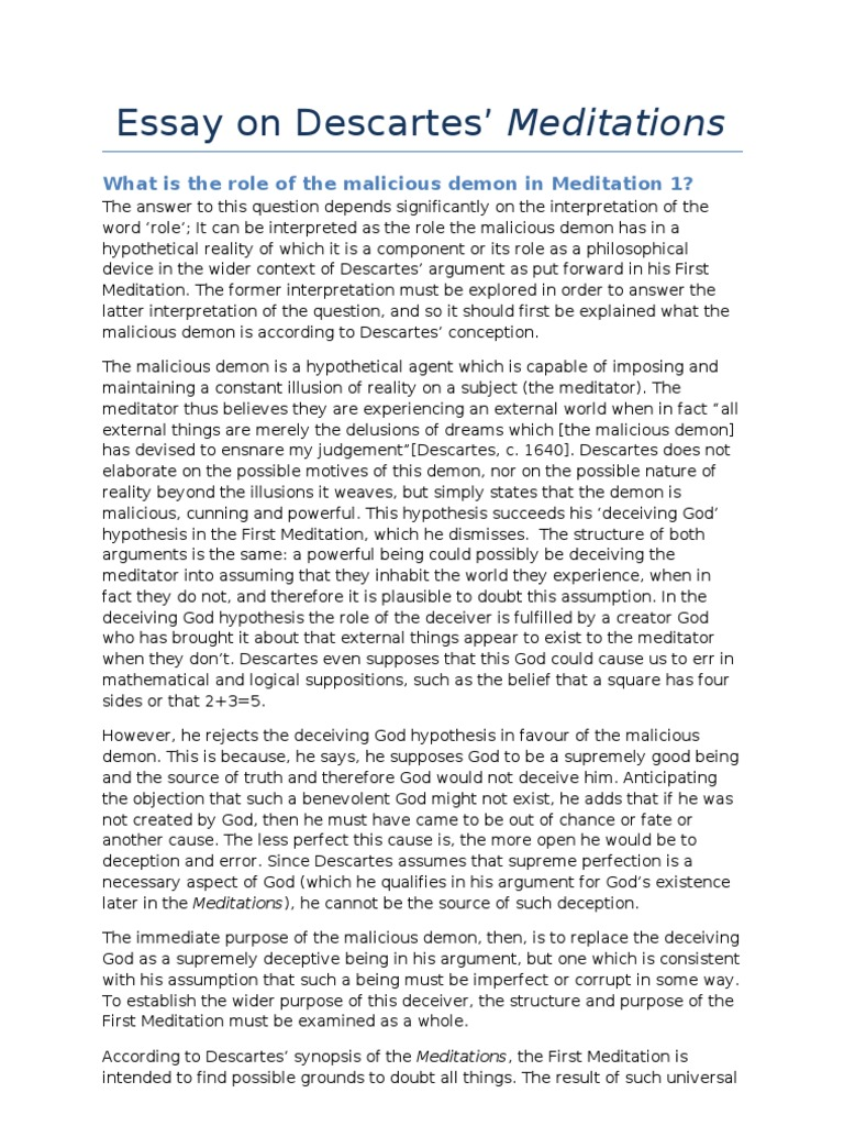 rene descartes meditation 1 essay