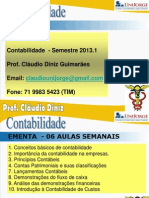 Contabilidade - Introdução - Aula 01 Prof Claudio