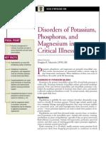 Disorders of Potassium,Phosphorus and Magnesium in Critical Illness