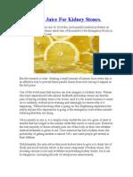 Try Lemon Juice for Kidney Stones