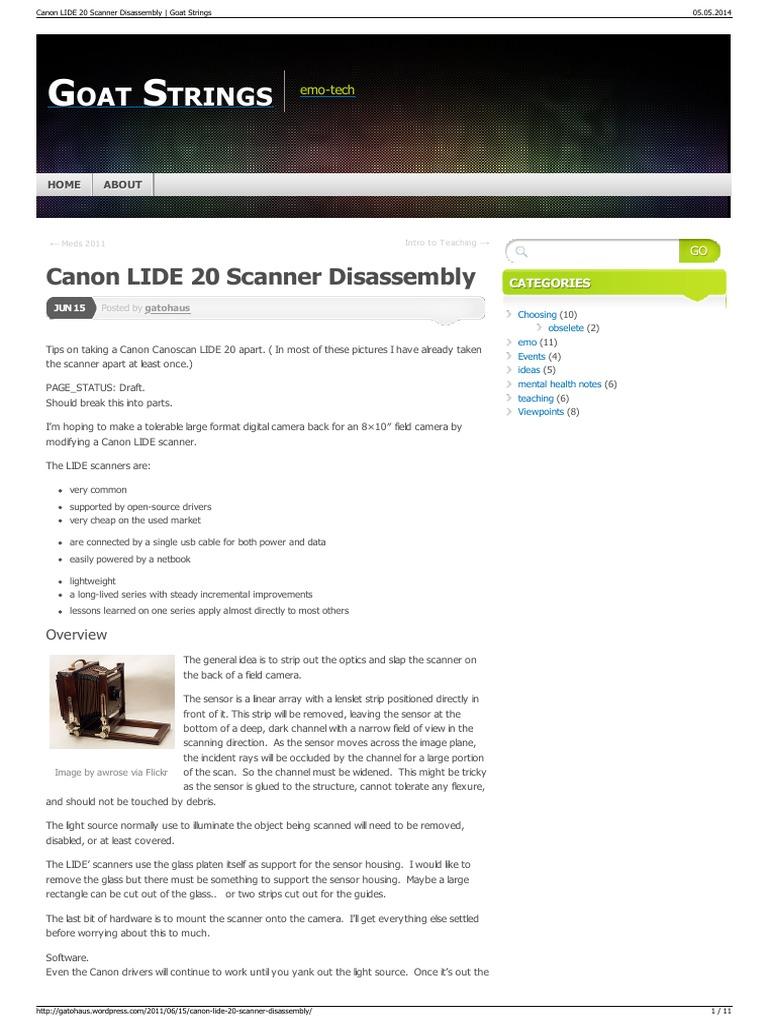 Canon LIDE 20 Scanner Disassembly Goat Strings | Image Scanner | Equipment