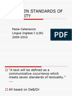 Seven Standards of Textuality