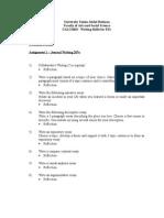 Appendix 2 - Assignment 1 Content Page