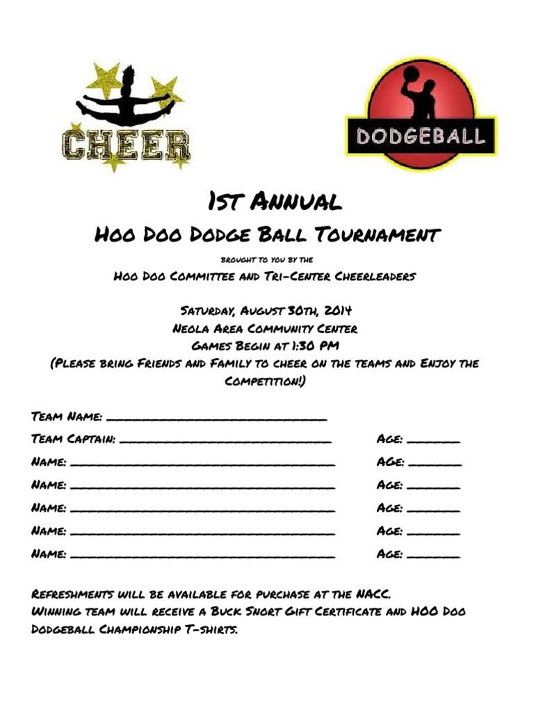Dodgeball Tournament Sign Up Sheet Sports – Team Sign Up Sheet