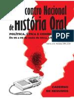 CADERNO de RESUMOS XII Encontro Nacional de História Oral