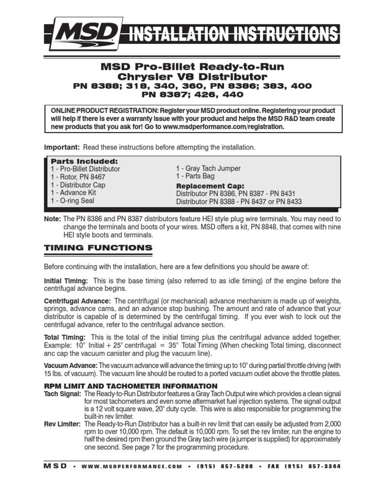 Msd 8387 Wiring Diagram Free For You 5 8388 Distributor Engines Rh Scribd Com Ford 460