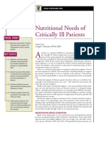 Nutritional Needs of Critically Ill Patients