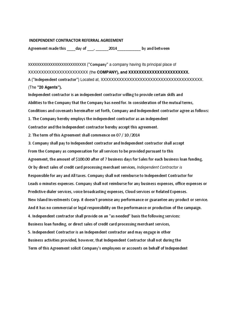 Draft Sla Banking Independent Contractor Confidentiality
