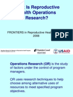 What is Reproductive Health Operations Research?