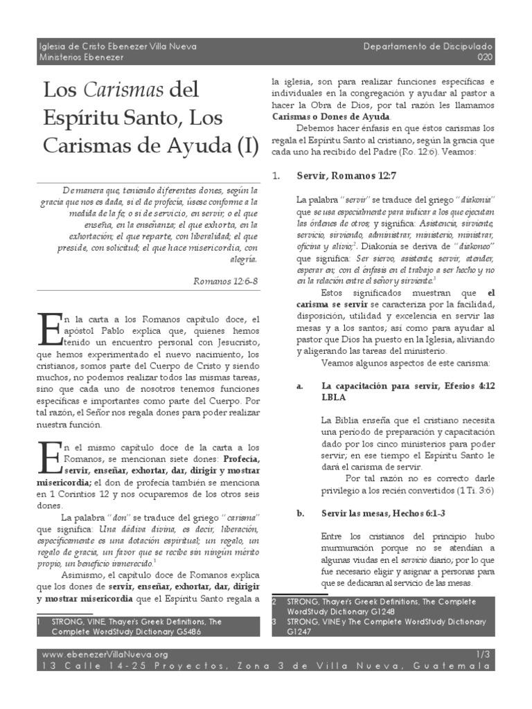 020 Los Carismas Del Espiritu Santo Los Carismas de Ayuda 1