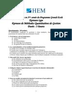 Concours HEM 3eme Annee Epreuve Type en Methodes Quantitatives de Gestion