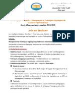 Appel a Candidature Mtlci 2014 2015