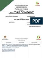 Planeación Didáctica de Historia de Mexico Turno Matutino