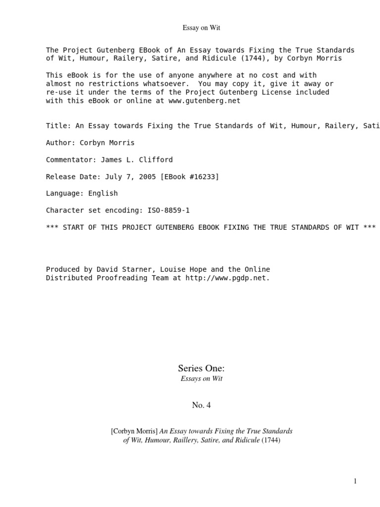 High School Scholarship Essay Examples An Essay Towards Fixing The True Standards Of Wit Humour Railery Satire  And Ridicule  By Morris Corbyn   David Hume  Reason Business Cycle Essay also How To Write A Proposal Essay An Essay Towards Fixing The True Standards Of Wit Humour Railery  Argumentative Essay Proposal