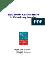 RUV40404 Certificate IV in Veterinary Nursing