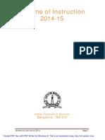 Scheme of Instruction IISc