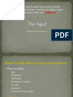 the aged - access to resources