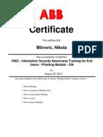 Nikola Mitrovica ABB Certificate