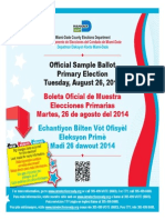 Aug. 26th Primary Election Sample Ballot