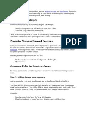 Grammar Possessive Nouns | Pronoun | Grammatical Number