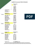 Volleyball 2014 Concession Work Schedule