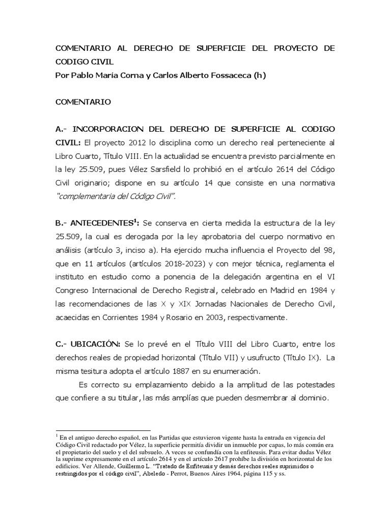 Comentario Definitivo Del Derecho de Superficie Del Proyecto de ...