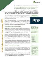 Lundquist CSR Online Awards Germany 2009 Executive Summary