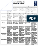 daily rubric - physical education