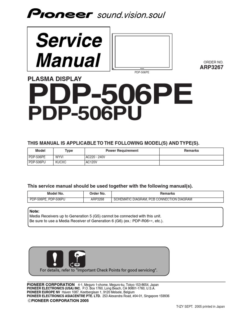 Pioneer Pdp 506pe Pu Arp3267 Plasma Tv Sm Electrical Connector P200 Wiring Diagram Power Supply