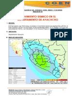 REPORTE DE INDECI N° 545 - MOVIMIENTO SISMICO EN AYACUCHO  SITUACIÓN  25-08-2014