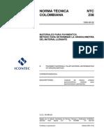 NTC 238 Materiales Para Pavimentos. Método Para Determinar La Granulometría Del Material LLenante