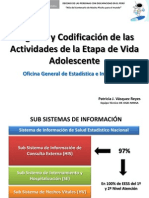 Registro y Codificación de Las Actividades de La Etapa de Vida Lunahuana