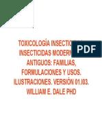 Toxicología Insecticidas. Insecticidas Modernos y Antiguos Familias, Formulaciones y Usos. Cuadro