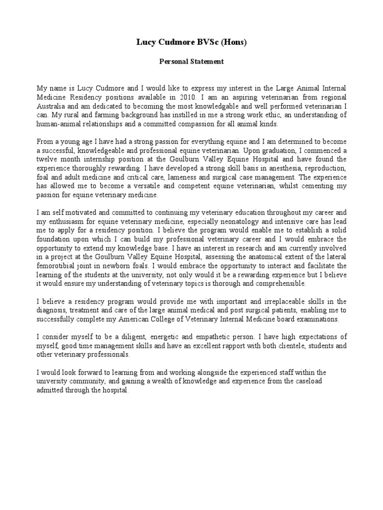 lucy cudmore personal statement veterinary physician veterinary medicine