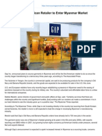 Gap to Be First American Retailer to Enter Myanmar Market