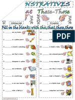 Demonstratives Demonstrative Pronouns This These That Those Worksheet 1
