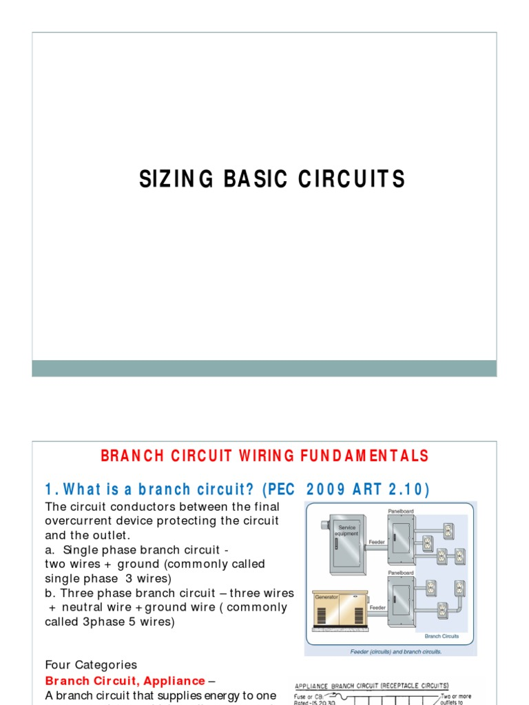 Lecture 3a Sizing Basic Circuits Rev2013 Electrical Wiring Branch Circuit Conductor