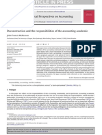Deconstruction and the Responsibilities of the Accounting Academic 2011 Critical Perspectives on Accounting