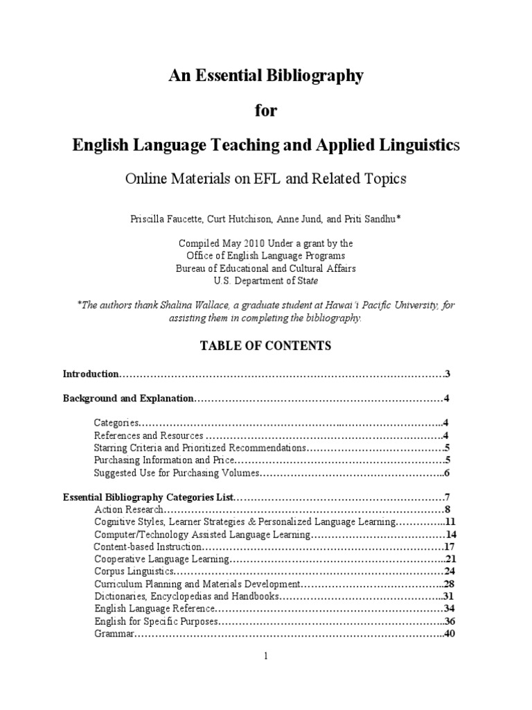 Essential bibliography for english language teaching and applied essential bibliography for english language teaching and applied linguisticspdf english as a second or foreign language language education fandeluxe Images