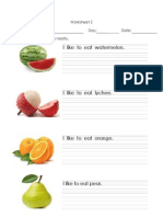 Worksheet,Fruits,Writing