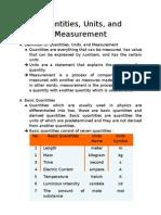 Quantities, Units, And Measurement