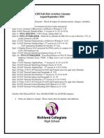 RCHS September 2014 Activities