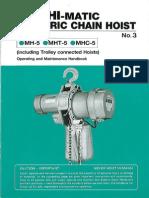 Manual 1.1 E Nitchi Electrical Chain Hoist MH5